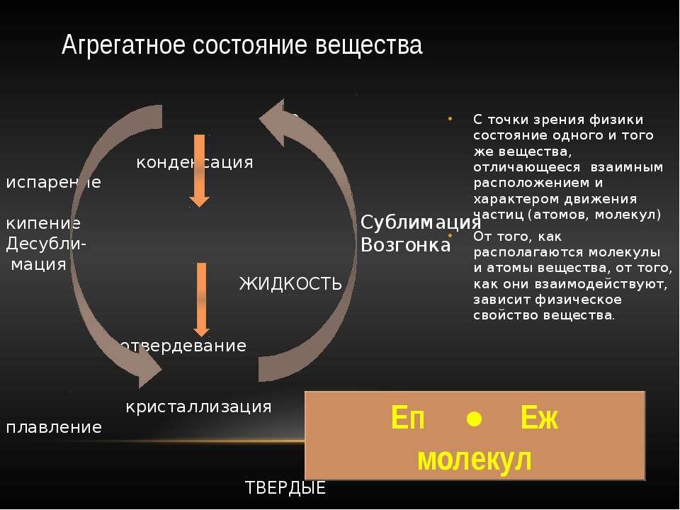 Агрегатное состояние вещества С точки зрения физики состояние одного и того ж...
