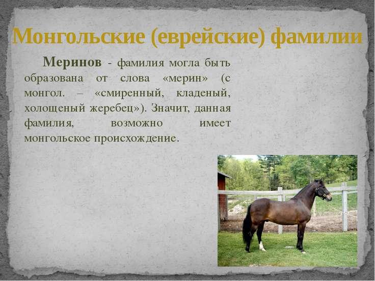 Меринов - фамилия могла быть образована от слова «мерин» (с монгол. – «смирен...