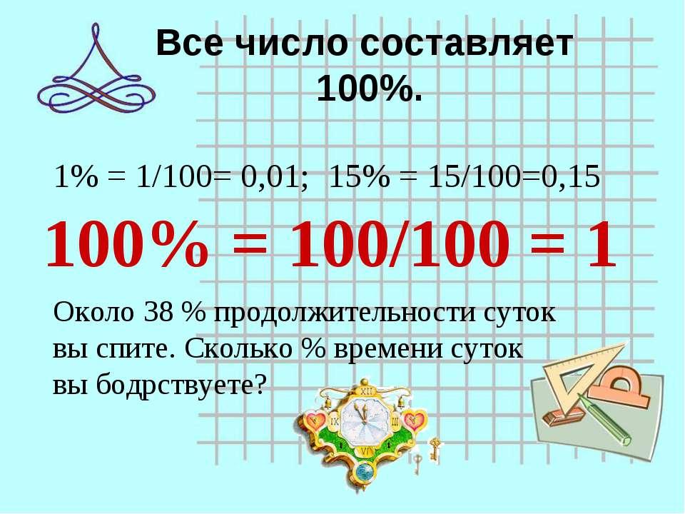 Все число составляет 100%. 1% = 1/100= 0,01; 15% = 15/100=0,15 100% = 100/100...
