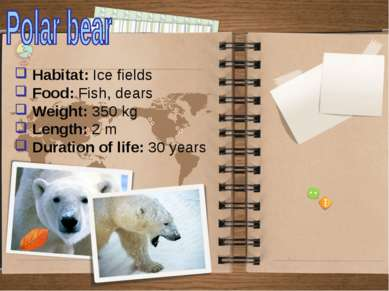 Habitat: Ice fields Food: Fish, dears Weight: 350 kg Length: 2 m Duration of ...