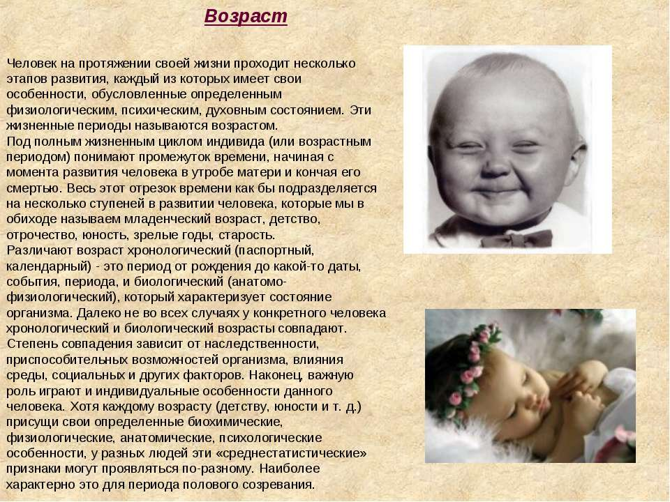 Человек на протяжении своей жизни проходит несколько этапов развития, каждый ...