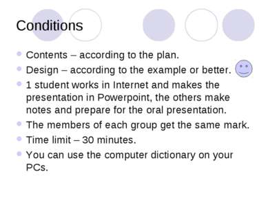Conditions Contents – according to the plan. Design – according to the exampl...