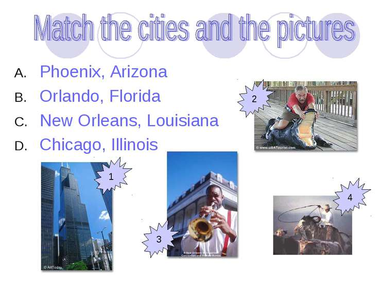 Phoenix, Arizona Orlando, Florida New Orleans, Louisiana Chicago, Illinois 1 ...