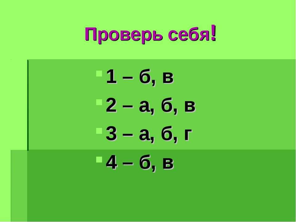 Проверь себя! 1 – б, в 2 – а, б, в 3 – а, б, г 4 – б, в