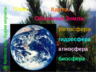 Оболочки Земли: литосфера гидросфера атмосфера биосфера План План. Карта. В 6...