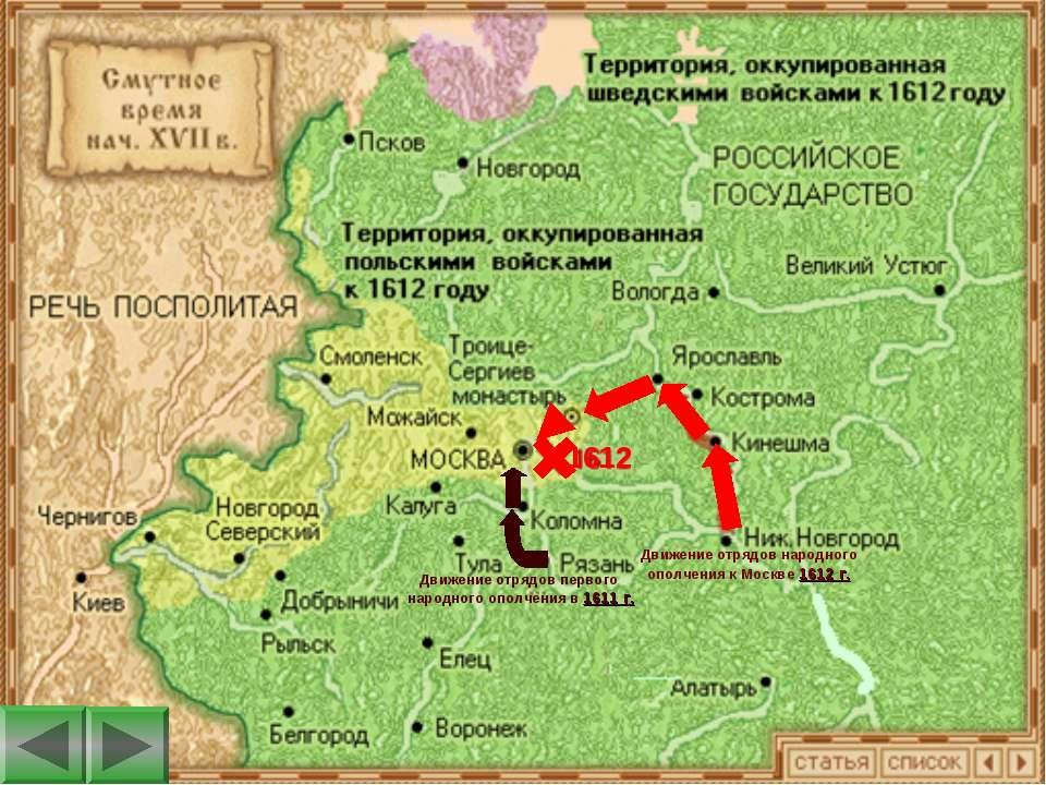 1612 Движение отрядов народного ополчения к Москве 1612 г. Движение отрядов п...