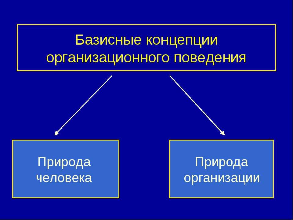 Базисные концепции организационного поведения Природа человека Природа органи...