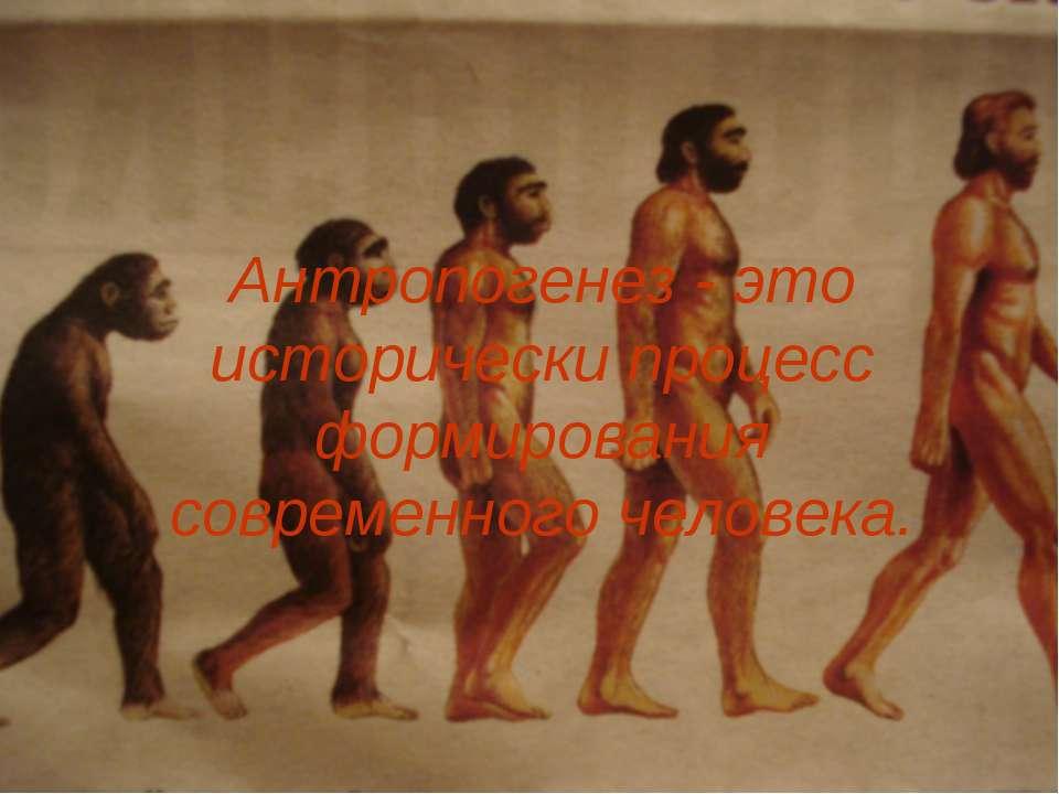 Антропогенез - это исторически процесс формирования современного человека.