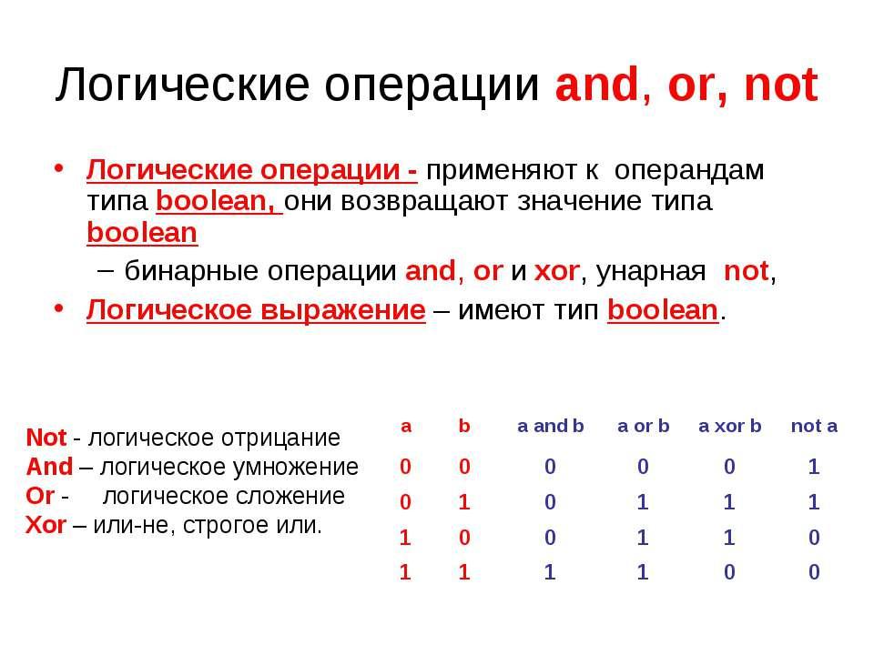 Логические операции and, or, not Логические операции - применяют к операндам ...