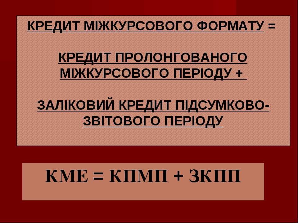 КРЕДИТ МІЖКУРСОВОГО ФОРМАТУ = КРЕДИТ ПРОЛОНГОВАНОГО МІЖКУРСОВОГО ПЕРІОДУ + ЗА...