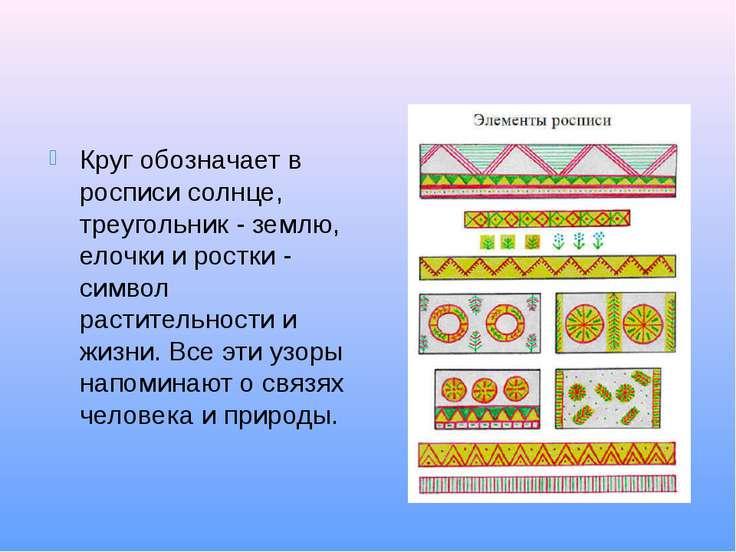 Круг обозначает в росписи солнце, треугольник - землю, елочки и ростки - симв...