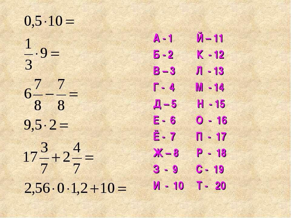 А - 1 Й – 11 Б - 2 К - 12 В – 3 Л - 13 Г - 4 М - 14 Д – 5 Н - 15 Е - 6 О - 16...