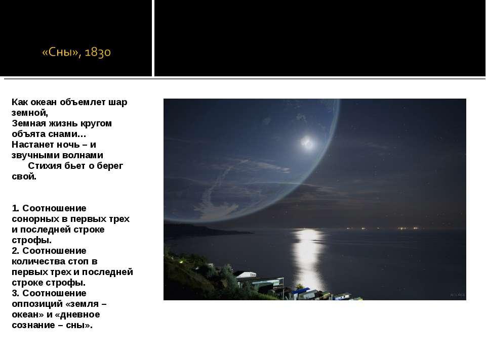 Как океан объемлет шар земной, Земная жизнь кругом объята снами… Настанет ноч...
