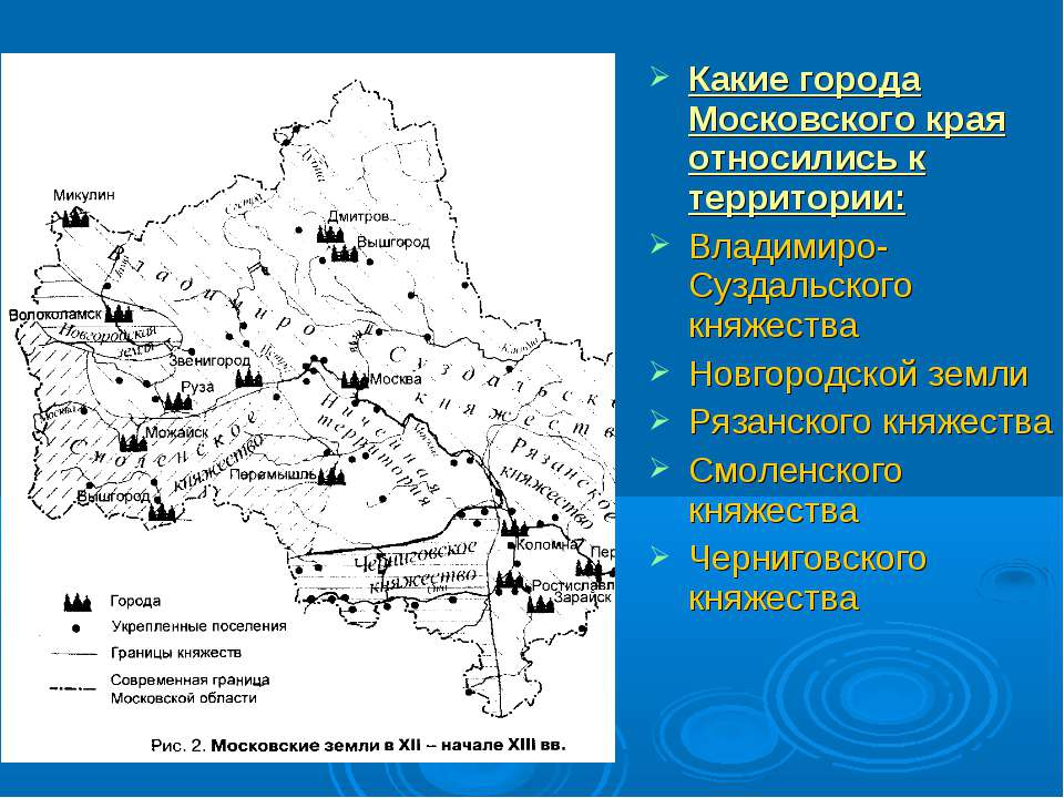 Какие города Московского края относились к территории: Владимиро-Суздальского...