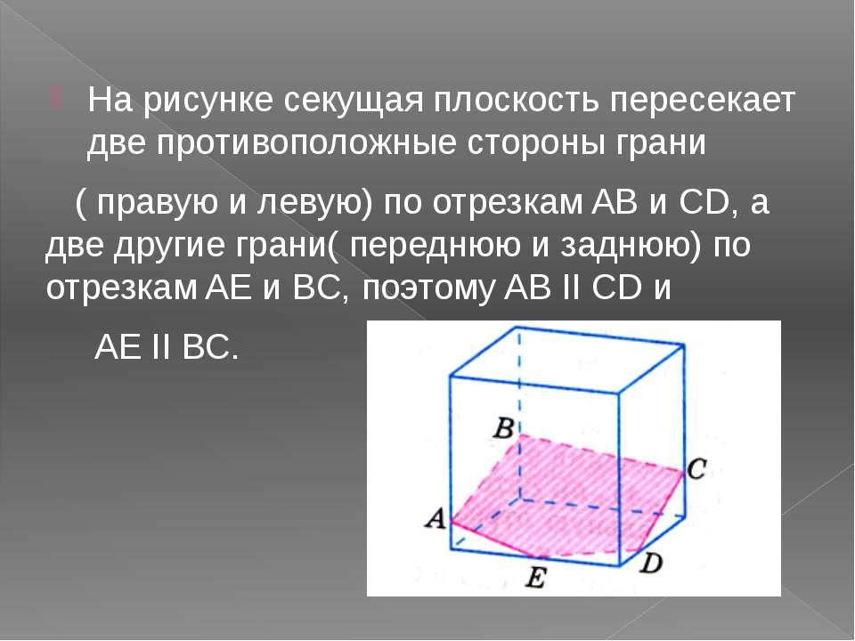На рисунке секущая плоскость пересекает две противоположные стороны грани ( п...