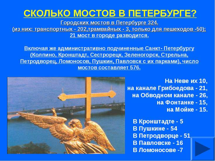 СКОЛЬКО МОСТОВ В ПЕТЕРБУРГЕ? Городских мостов в Петербурге 324. (из них: тран...