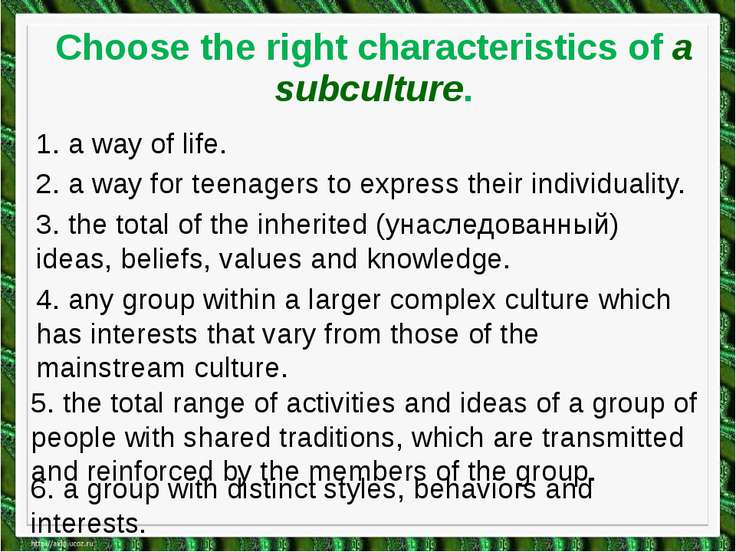 Choose the right characteristics of a subculture. 1. a way of life. 2. a way ...