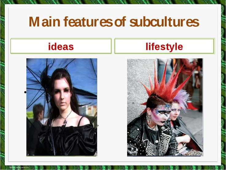Main features of subcultures image music ideas lifestyle