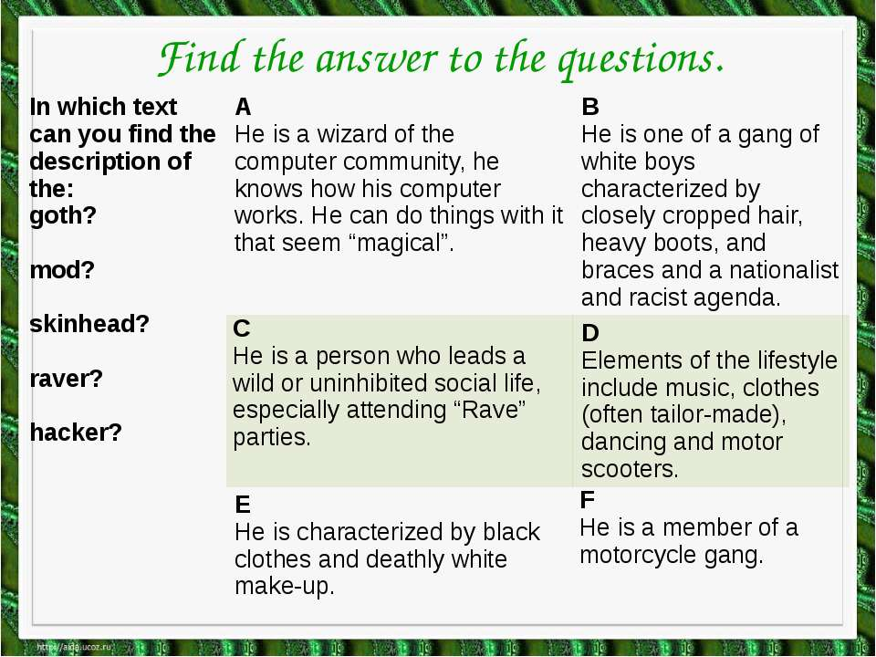 Find the answer to the questions. In which text can you find the description ...