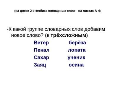 (на доске 2 столбика словарных слов – на листах А-4) -К какой группе словарны...