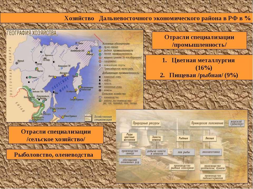 Хозяйство Дальневосточного экономического района в РФ в % Отрасли специализац...