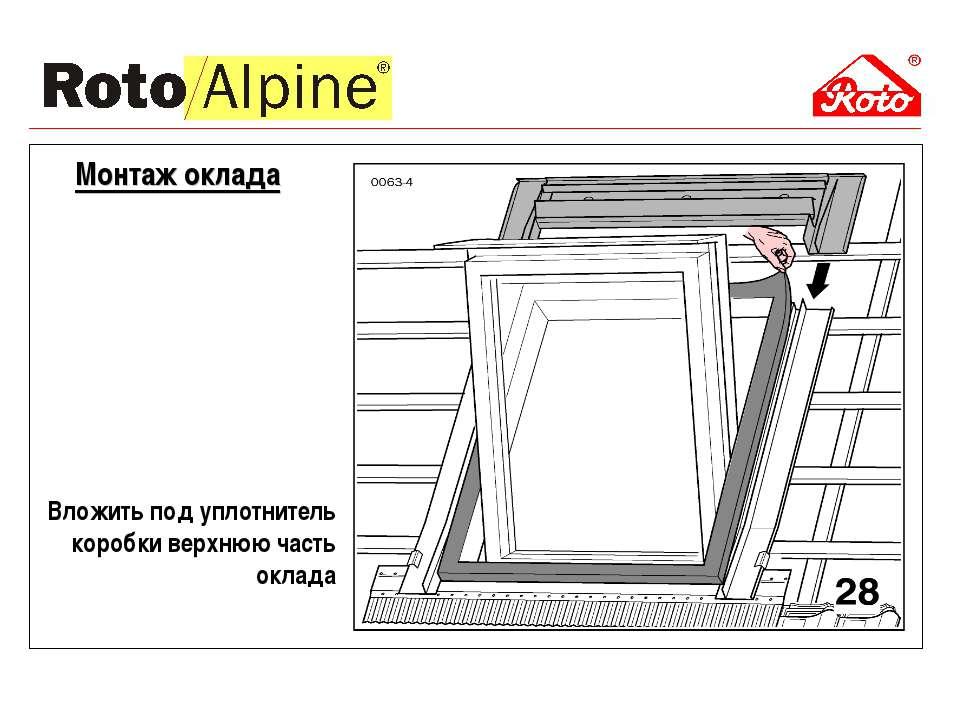 Вложить под уплотнитель коробки верхнюю часть оклада Монтаж оклада