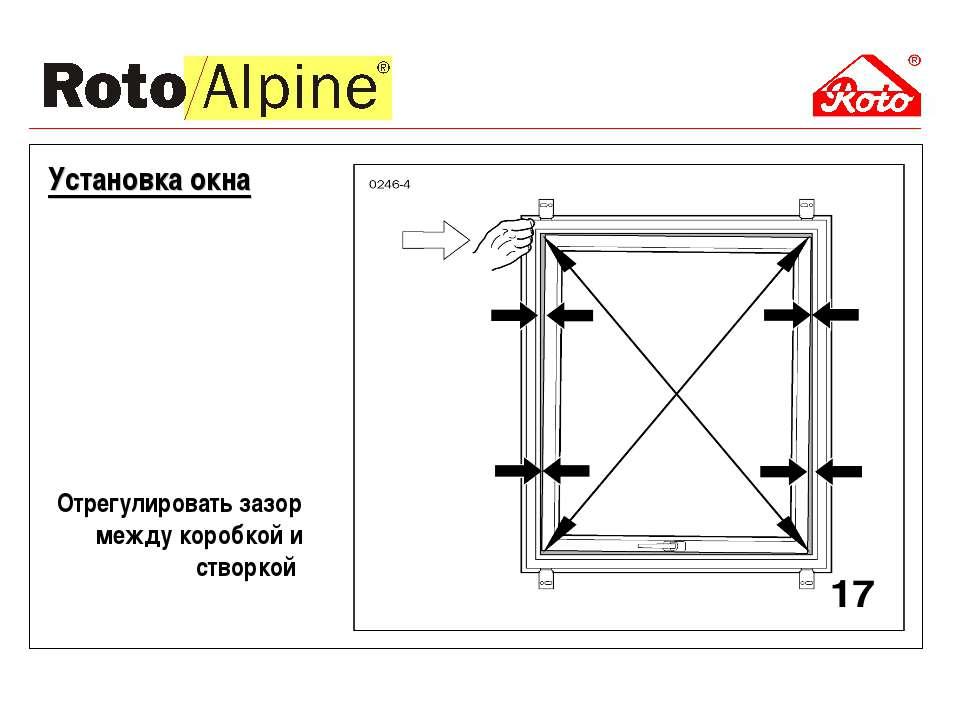 Отрегулировать зазор между коробкой и створкой Установка окна