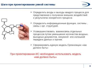 Шаги при проектировании умной системы Определить входы и выходы каждого проце...