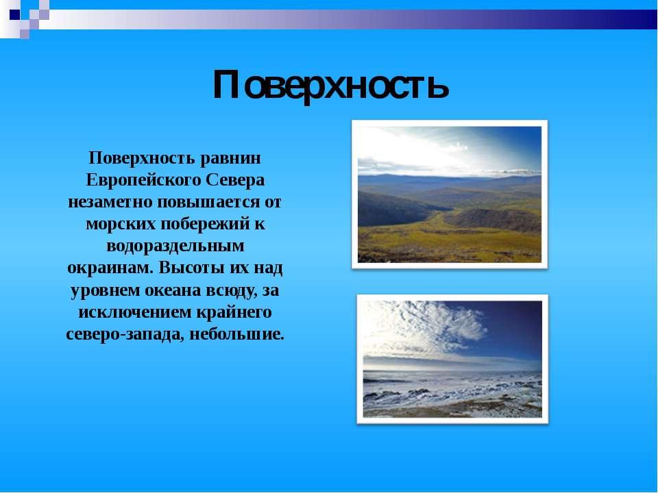 Поверхность Поверхность равнин Европейского Севера незаметно повышается от мо...