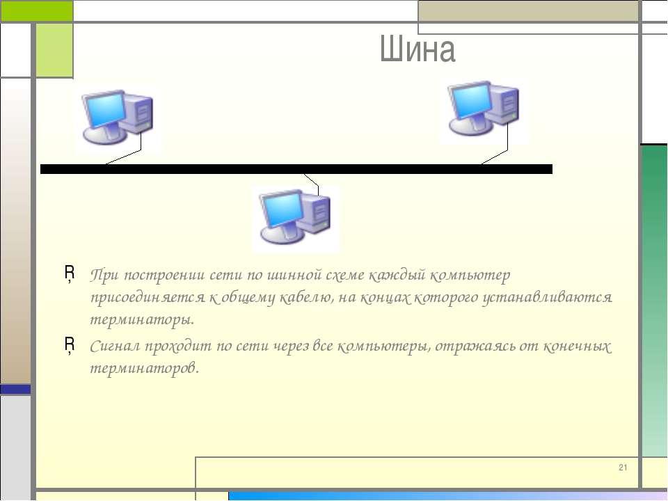 * Шина При построении сети по шинной схеме каждый компьютер присоединяется к ...