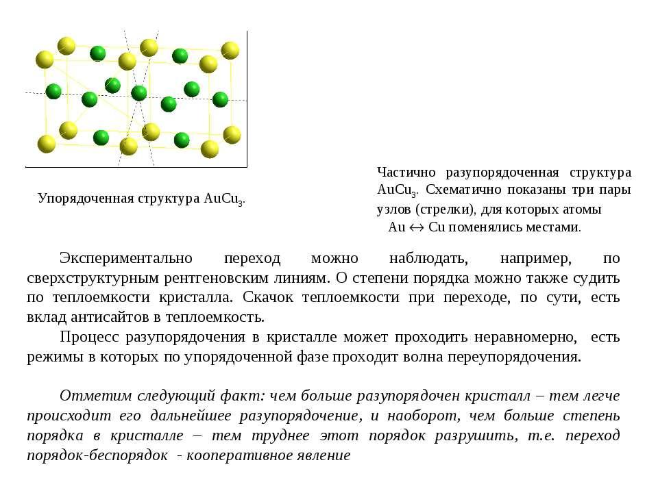 Частично разупорядоченная структура AuCu3. Схематично показаны три пары узлов...