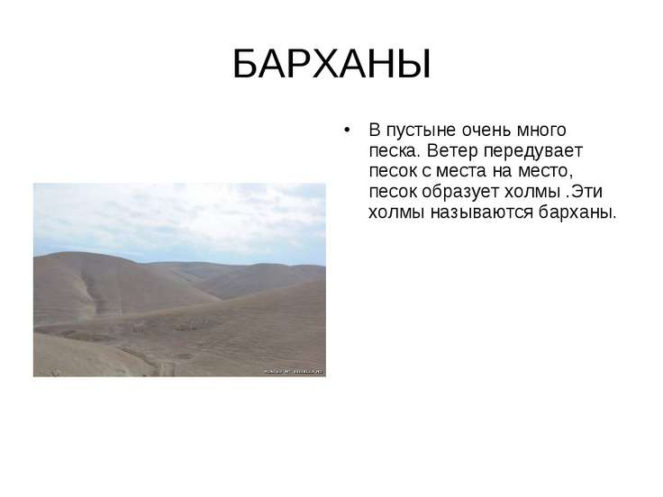 БАРХАНЫ В пустыне очень много песка. Ветер передувает песок с места на место,...