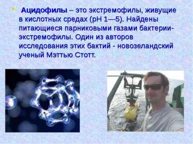 Ацидофилы – это экстремофилы, живущие в кислотных средах (pH 1—5). Найдены пи...