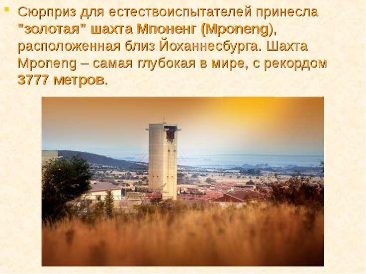 """Сюрприз для естествоиспытателей принесла """"золотая"""" шахта Мпоненг (Mponeng), р..."""