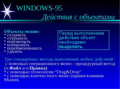 WINDOWS-95 Действия с объектами Объекты можно: создавать открывать перемещать...