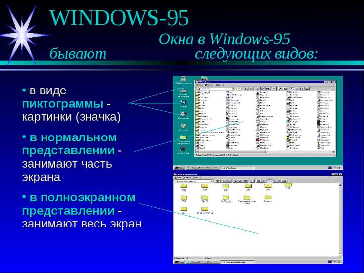 WINDOWS-95 Окна в Windows-95 бывают следующих видов: в виде пиктограммы - кар...