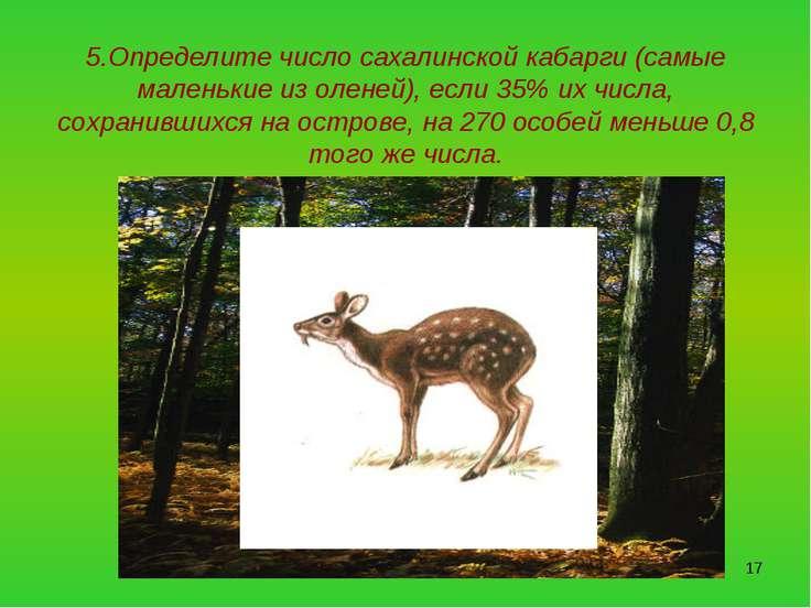 * 5.Определите число сахалинской кабарги (самые маленькие из оленей), если 35...