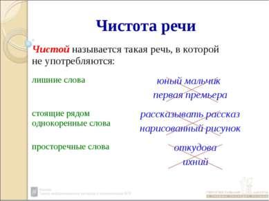 Чистота речи Чистой называется такая речь, в которой не употребляются: лишние...