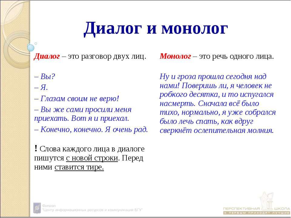 Диалог и монолог Диалог – это разговор двух лиц. Монолог – это речь одного ли...