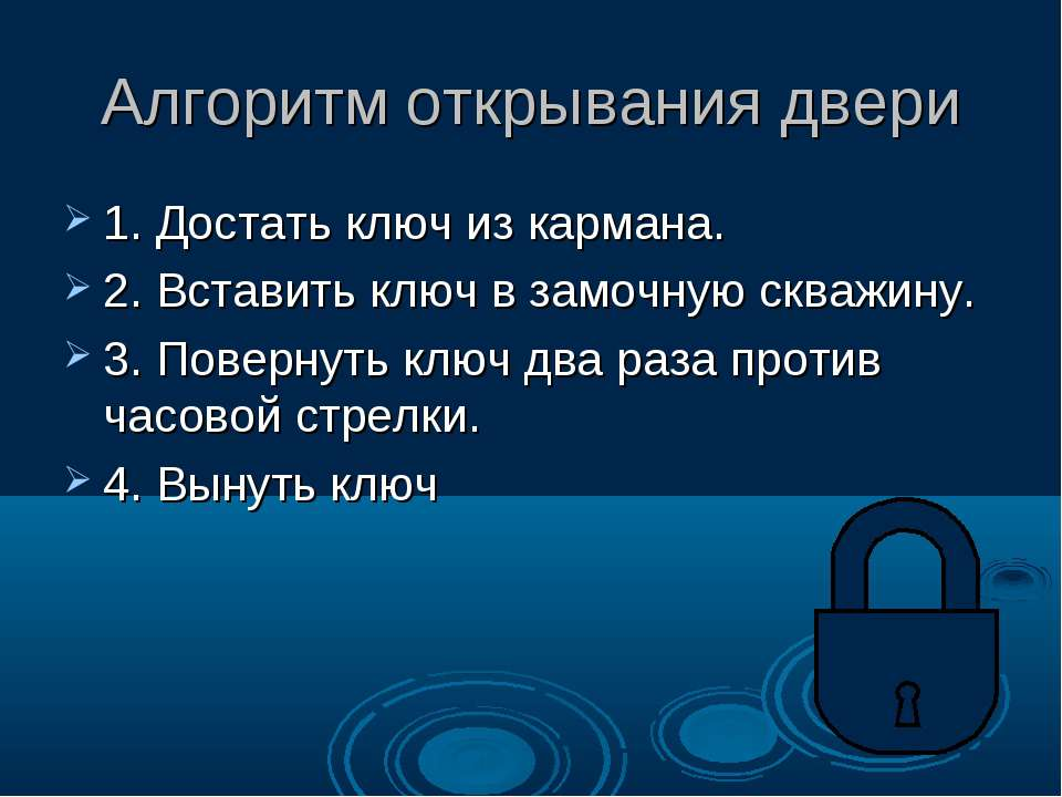 Алгоритм открывания двери 1. Достать ключ из кармана. 2. Вставить ключ в замо...