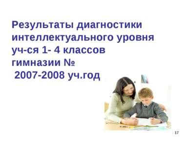 * Результаты диагностики интеллектуального уровня уч-ся 1- 4 классов гимназии...