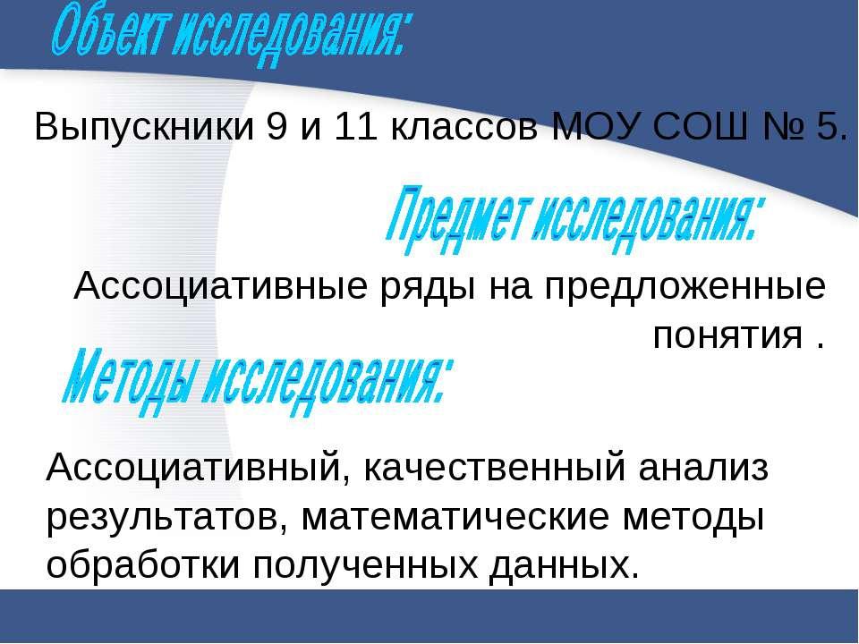Выпускники 9 и 11 классов МОУ СОШ № 5. Ассоциативные ряды на предложенные пон...