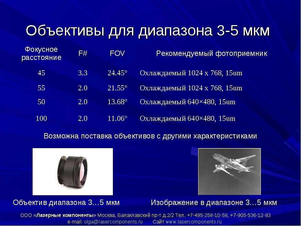 Объективы для диапазона 3-5 мкм ООО «Лазерные компоненты» Москва, Балаклавски...