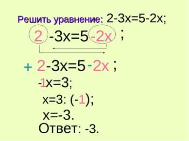 Решить уравнение: 2-3x=5-2x; -3x=5 ; 2 2 -2x -3x=5 ; 2 -2x - x=3; x=3: (-1); ...