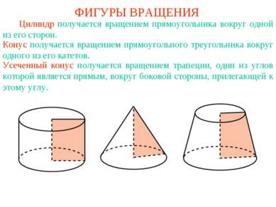 ФИГУРЫ ВРАЩЕНИЯ Цилиндр получается вращением прямоугольника вокруг одной из е...