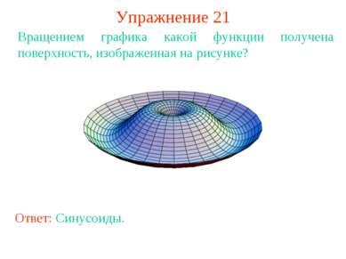 Упражнение 21 Вращением графика какой функции получена поверхность, изображен...