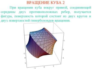 ВРАЩЕНИЕ КУБА 2 При вращении куба вокруг прямой, соединяющей середины двух пр...