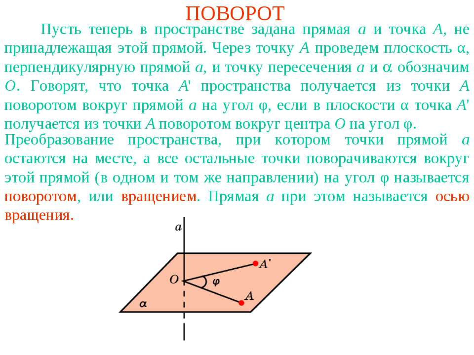 ПОВОРОТ Пусть теперь в пространстве задана прямая a и точка A, не принадлежащ...