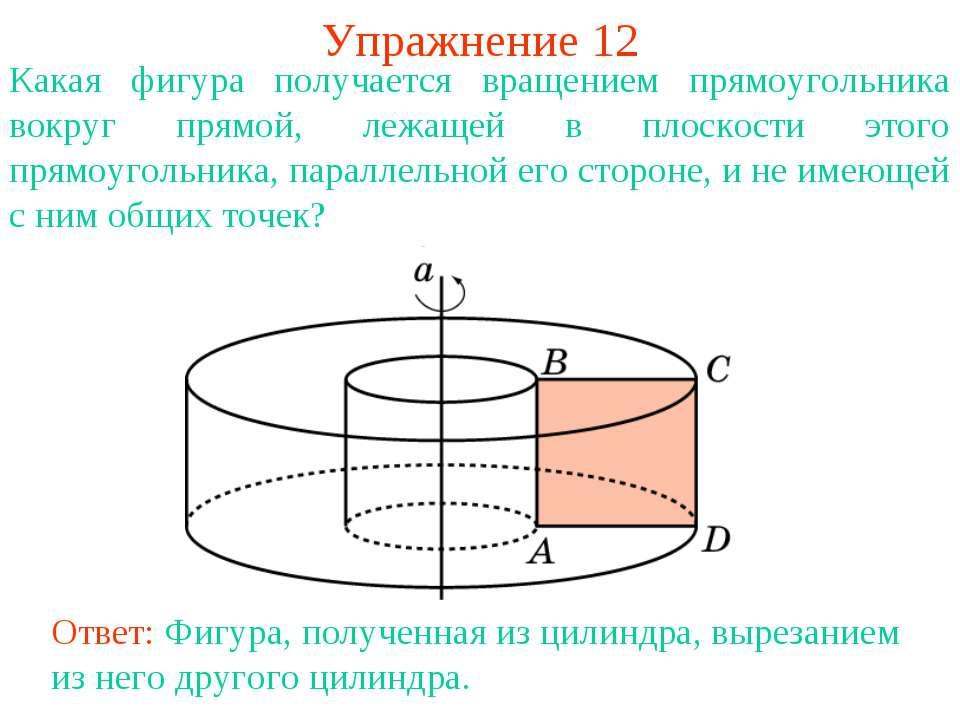 Упражнение 12 Какая фигура получается вращением прямоугольника вокруг прямой,...