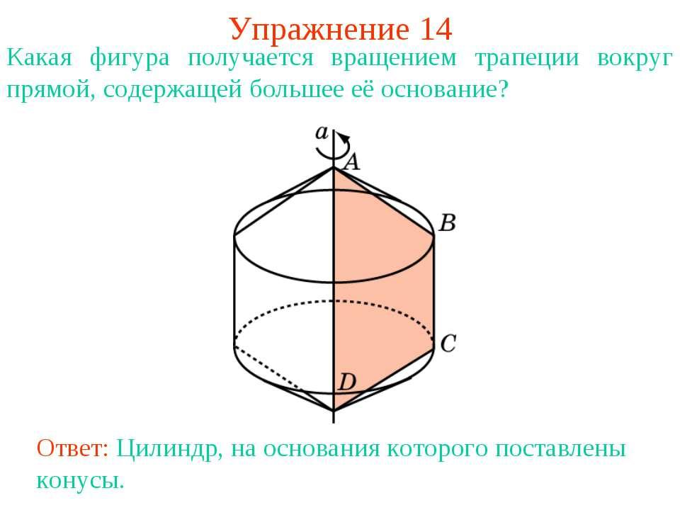 Упражнение 14 Какая фигура получается вращением трапеции вокруг прямой, содер...